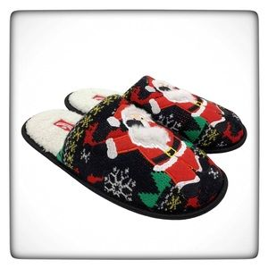 Holiday Time Knitted Santa Claus Plush Slippers
